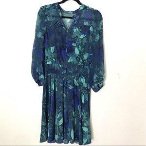 Rebecca Taylor Blue Floral silk Dress